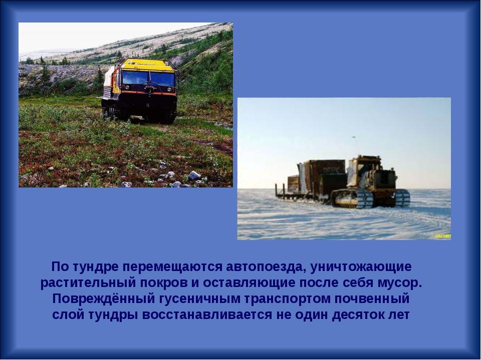 По тундре перемещаютсяавтопоезда, уничтожающие растительный покров и оставля...