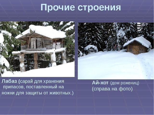 Прочие строения Ай-хот (дом рожениц) (справа на фото) Лабаз (сарай для хранен...