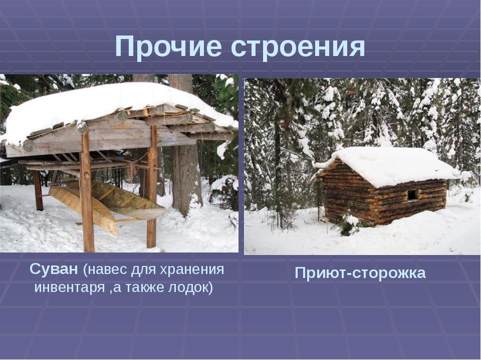 Прочие строения Суван (навес для хранения инвентаря ,а также лодок) Приют-ст...