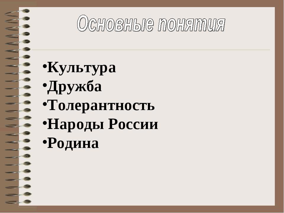 Культура Дружба Толерантность Народы России Родина