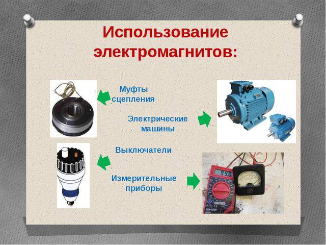 Использование электромагнитов: Муфты сцепления Выключатели Электрические маши...