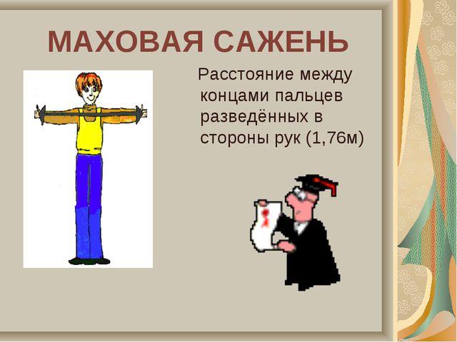 МАХОВАЯ САЖЕНЬ Расстояние между концами пальцев разведённых в стороны рук (1,...