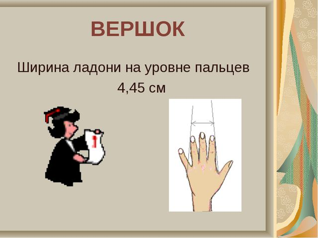 ВЕРШОК Ширина ладони на уровне пальцев 4,45 см