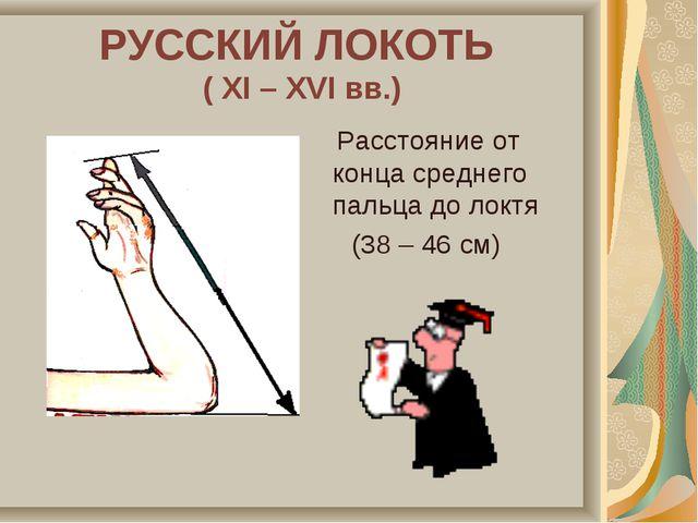 РУССКИЙ ЛОКОТЬ ( XI – XVI вв.) Расстояние от конца среднего пальца до локтя (...