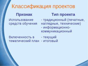 Классификация проектов ПризнакТип проекта Использование средств обучения тр