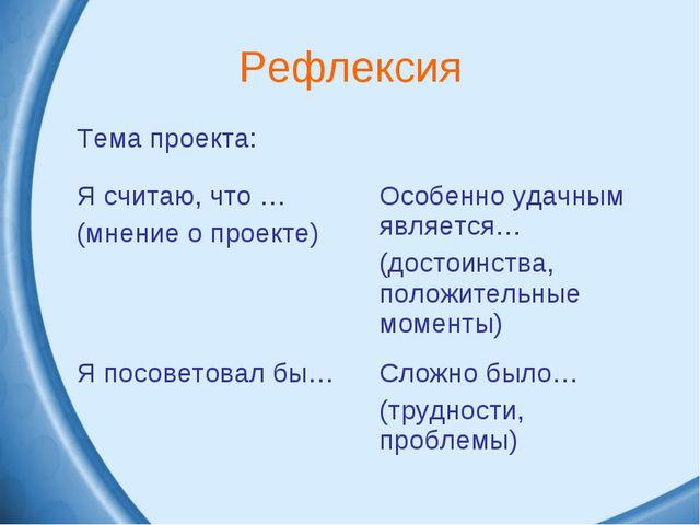 Рефлексия Тема проекта: Я считаю, что … (мнение о проекте)Особенно удачным...