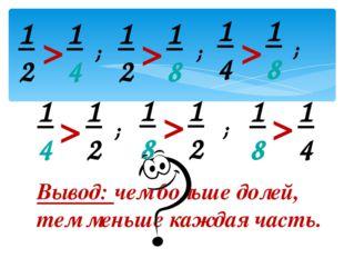 Вывод: чем больше долей, тем меньше каждая часть. > > > > > > ; ; ; ; ; 1 2 1
