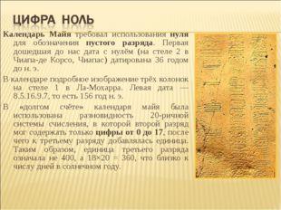 Календарь Майя требовал использования нуля для обозначения пустого разряда. П