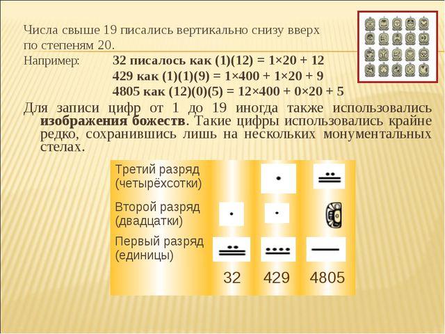 Числа свыше 19 писались вертикально снизу вверх по степеням 20. Например:32...
