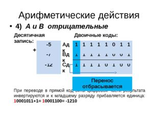 Арифметические действия 4) А и В отрицательные При переводе в прямой код биты