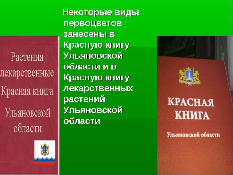 Некоторые виды первоцветов занесены в Красную книгу Ульяновской области и в...