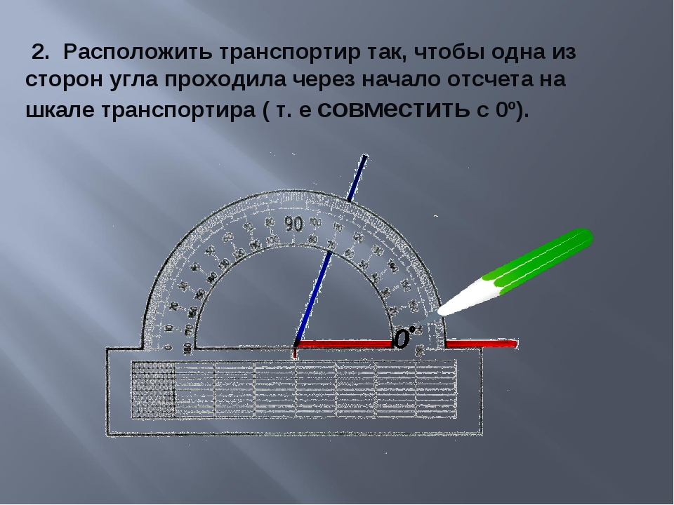 2. Расположить транспортир так, чтобы одна из сторон угла проходила через на...