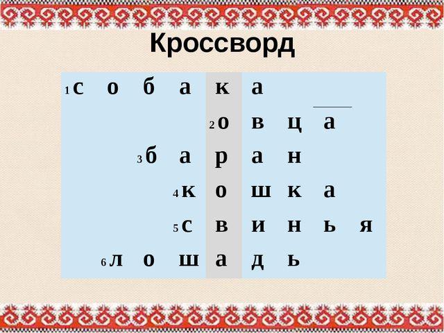 Кроссворд 1с о б а к а 2о в ц а  3б а р а н  4к о ш к а  5с в и н ь я  6л...