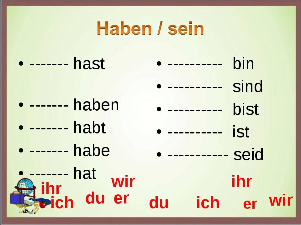 ------- hast ------- haben ------- habt ------- habe ------- hat ---------- b...