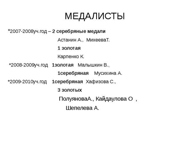 МЕДАЛИСТЫ *2007-2008уч.год – 2 серебряные медали Астанин А., МихееваТ. 1 золо...