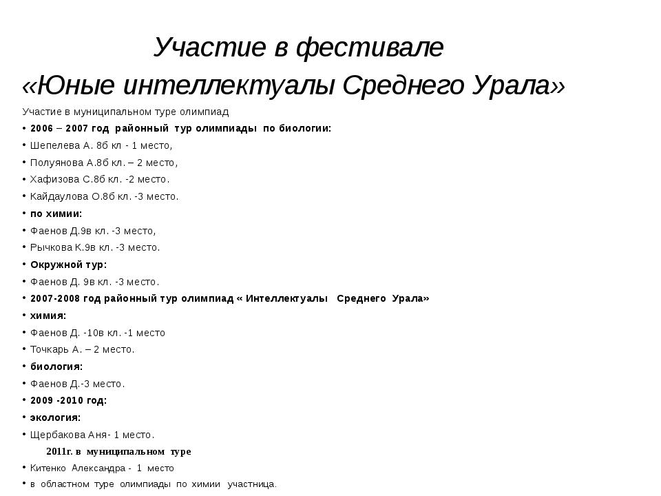 Участие в фестивале «Юные интеллектуалы Среднего Урала» Участие в муниципаль...