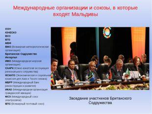 Международные организации и союзы, в которые входят Мальдивы ООН ЮНЕСКО ВОЗ В