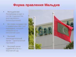 Форма правления Мальдив Мальдивская Республика входит в состав Содружества, в