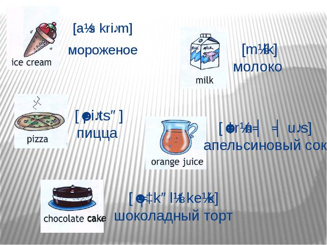 [aɪs kriːm] мороженое [ˈpiːtsə] пицца [mɪlk] молоко [ˈɔrɪnʤ ʤuːs] апельсиновы...
