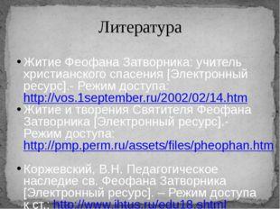 Литература Житие Феофана Затворника: учитель христианского спасения [Электрон