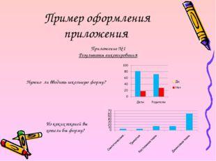 Пример оформления приложения Приложение № 1 Результаты анкетирования Нужно ли