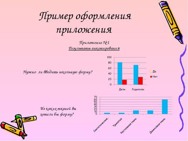Пример оформления приложения Приложение № 1 Результаты анкетирования Нужно ли...