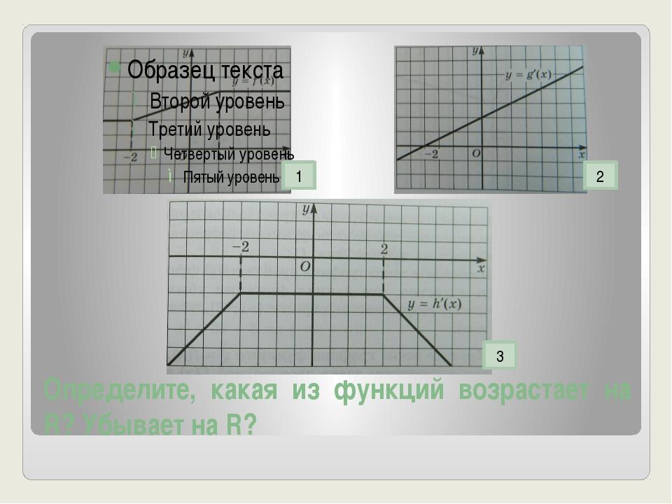 Определите, какая из функций возрастает на R? Убывает на R? 3 1 2