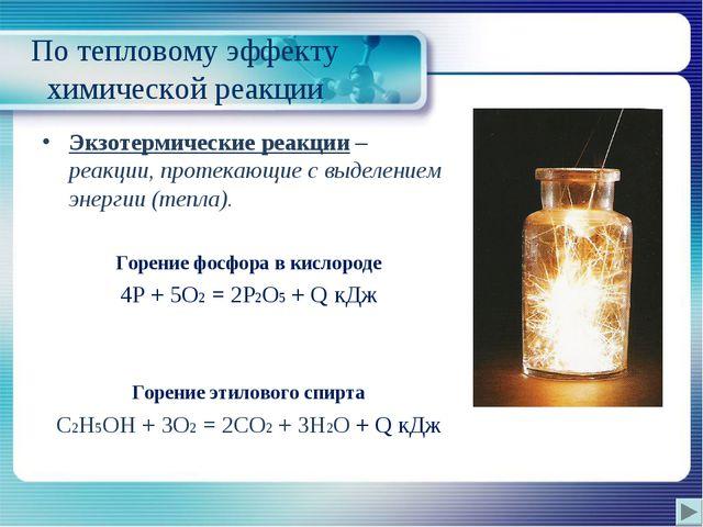 По тепловому эффекту химической реакции Экзотермические реакции – реакции, п...