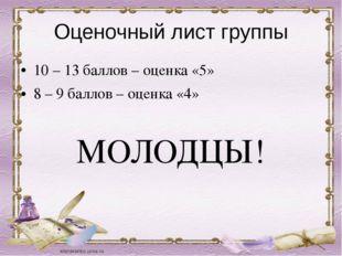 Оценочный лист группы 10 – 13 баллов – оценка «5» 8 – 9 баллов – оценка «4» М