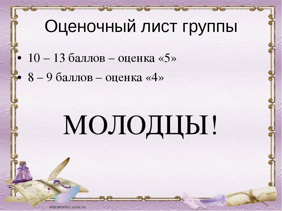 Оценочный лист группы 10 – 13 баллов – оценка «5» 8 – 9 баллов – оценка «4» М...