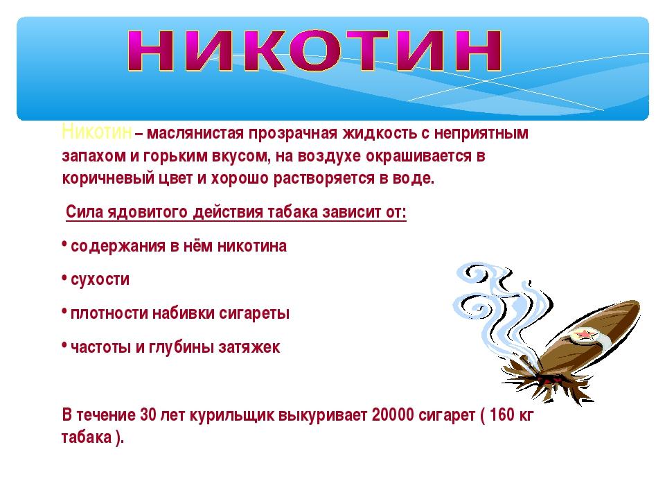 Никотин – маслянистая прозрачная жидкость с неприятным запахом и горьким вкус...