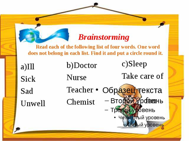 Brainstorming Read each of the following list of four words. One word does no...