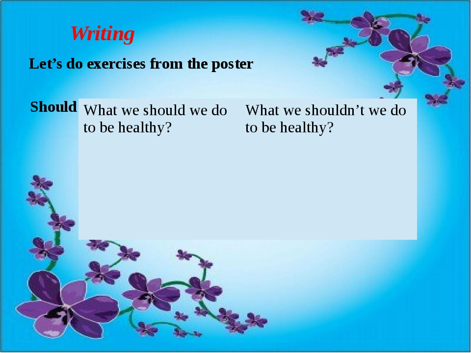 Writing Let's do exercises from the poster Should or shouldn't 5 sentences Wh...