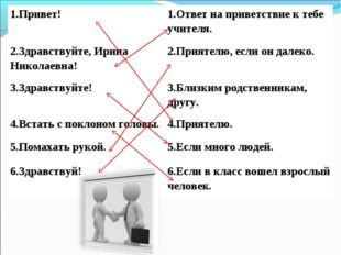1.Привет!1.Ответ на приветствие к тебе учителя. 2.Здравствуйте, Ирина Никола