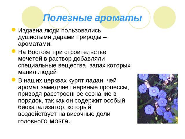 Полезные ароматы Издавна люди пользовались душистыми дарами природы – аромата...