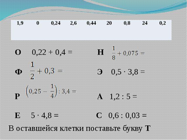 О 0,22 + 0,4 = Н Ф Э 0,5 · 3,8 = Р А 1,2 : 5 = Е 5 · 4,8 = С 0,6 : 0,03 = В...