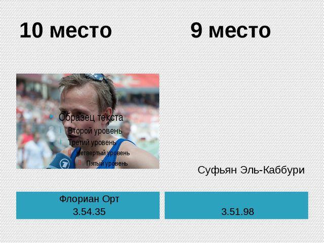 10 место 9 место Флориан Орт 3.54.35 3.51.98 Суфьян Эль-Каббури