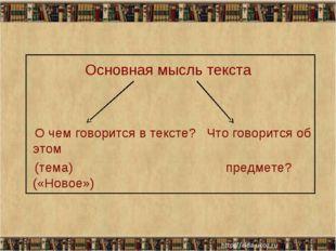 Основная мысль текста О чем говорится в тексте? Что говорится об этом (тема)
