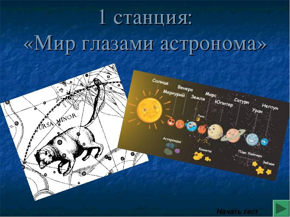 1 станция: «Мир глазами астронома» Начать тест