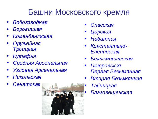 Башни Московского кремля Водовзводная Боровицкая Комендантская Оружейная Трои...