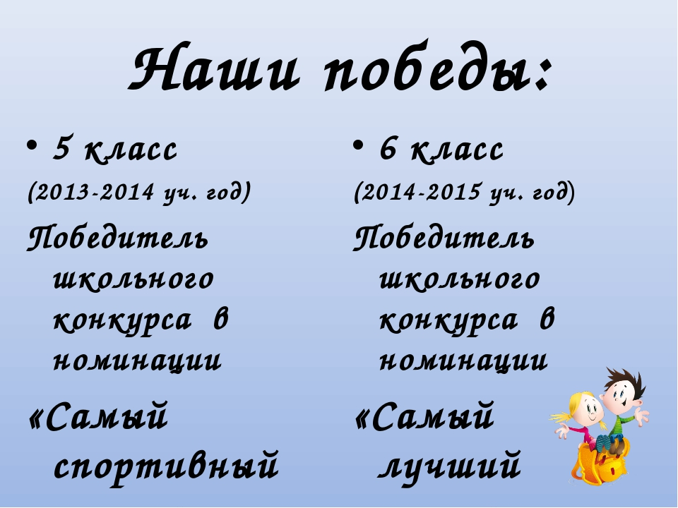 Наши победы: 5 класс (2013-2014 уч. год) Победитель школьного конкурса в номи...