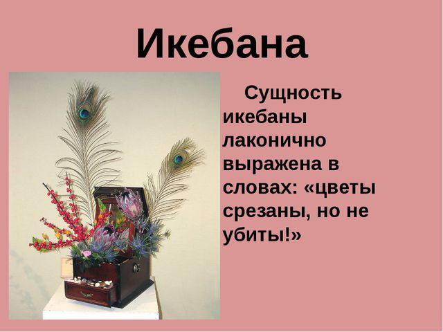 Икебана Сущность икебаны лаконично выражена в словах: «цветы срезаны, но не у...