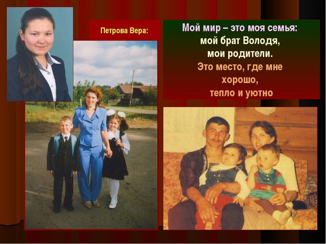 Мой мир – это моя семья: мой брат Володя, мои родители. Это место, где мне хо...