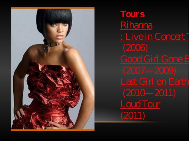 Tours Rihanna: Live in Concert Tour (2006) Good Girl Gone Bad Tour (2007—2009...