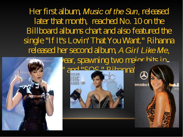 Her first album, Music of the Sun, released later that month, reached No. 10...