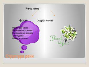 Структура речи Речь имеет форму содержание Начало разговора Передача информац