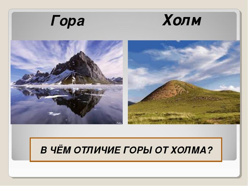 Гора Холм В ЧЁМ ОТЛИЧИЕ ГОРЫ ОТ ХОЛМА?