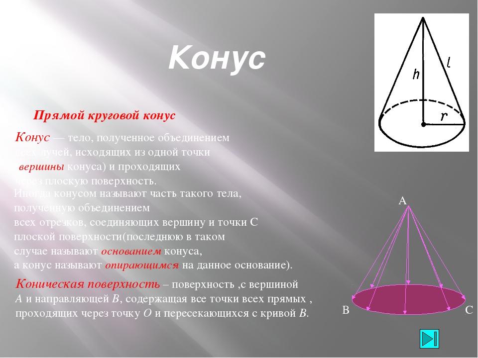 Основные формулы Если R – радиус основания, H - высота, L– обра- зующая конус...