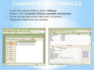 Создание структуры таблиц БД В окне базы данных выбрать объект Таблицы Выбрат
