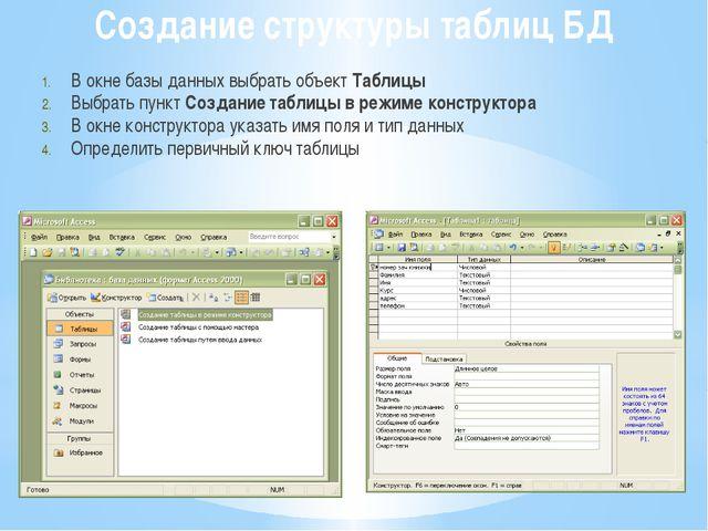 Создание структуры таблиц БД В окне базы данных выбрать объект Таблицы Выбрат...